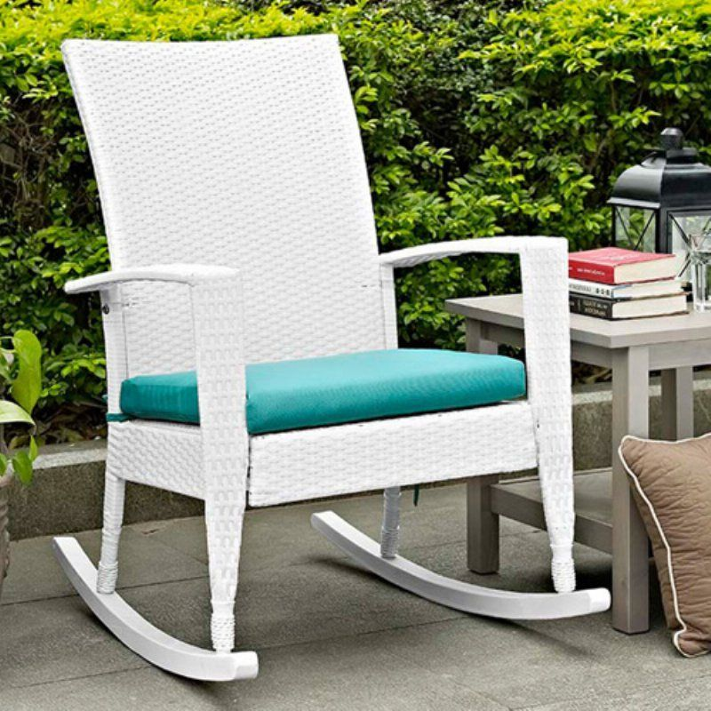Outdoor C Coast Soho High Back Wicker Rocking Chair With Free Cushion White Turquoise