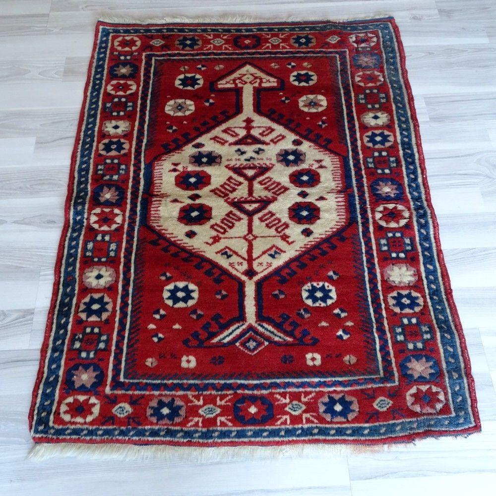Vintage Red Kilim 3x4 Feet Wool Nomadic Rug Antique Turkish Handmade Carpet