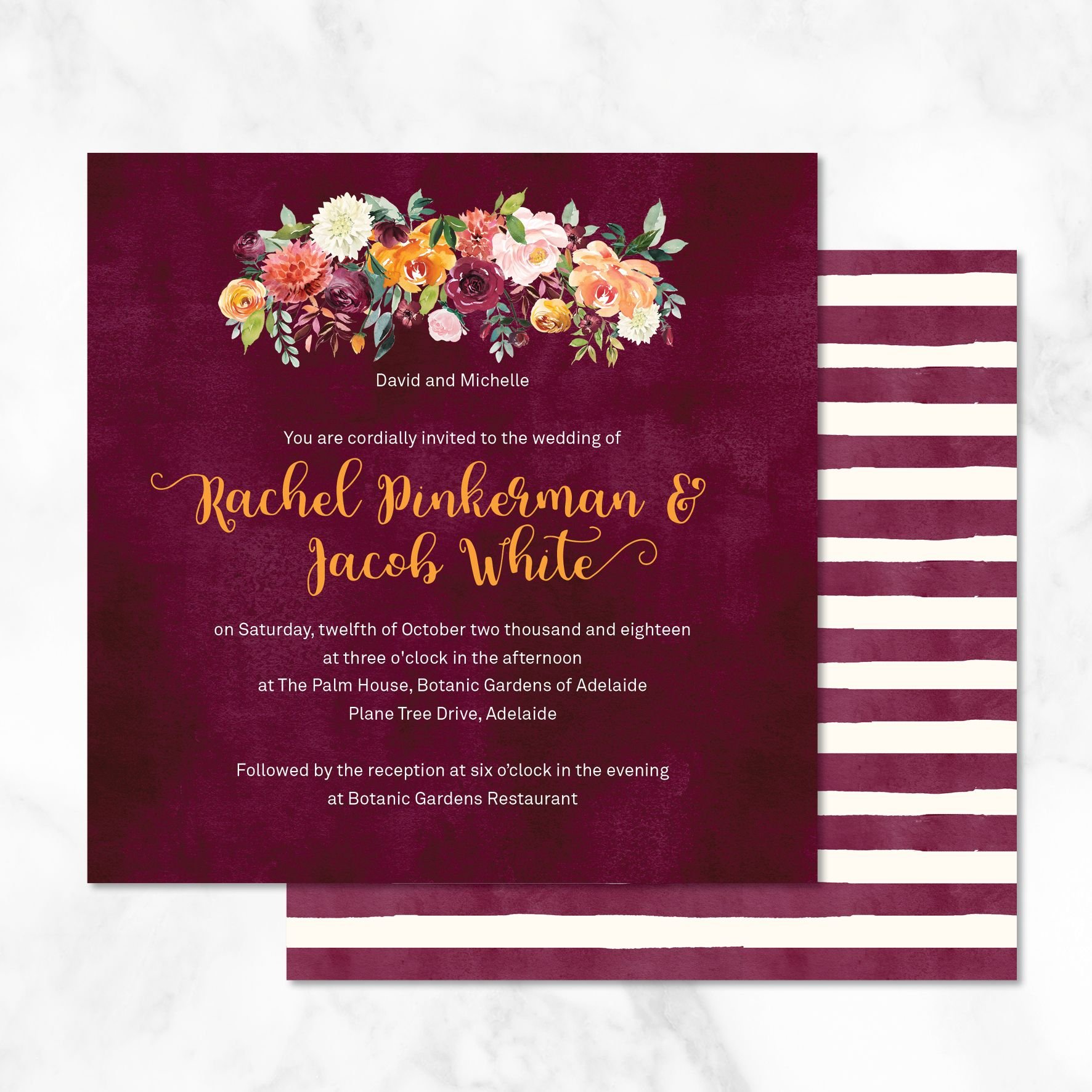 Burgundy Watercolour Wedding Invitation - These beautiful burgundy ...