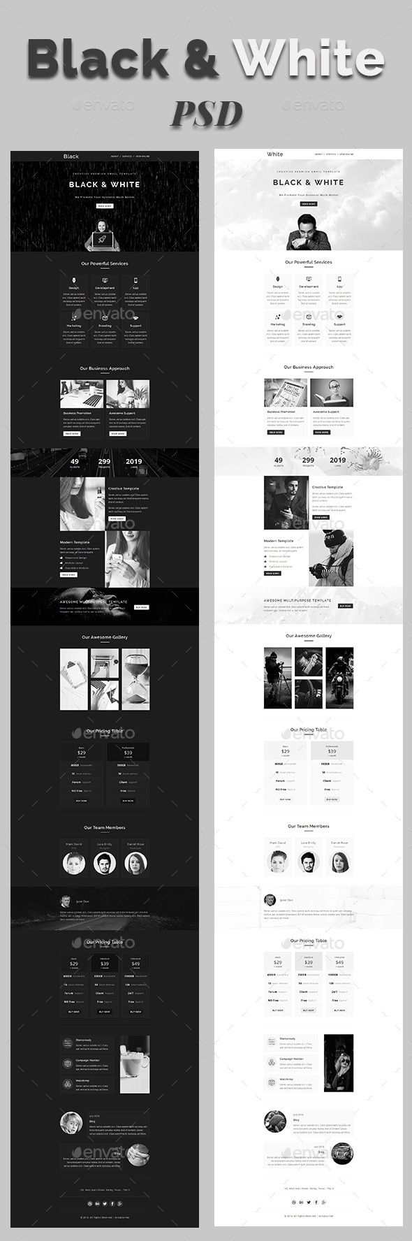 black white email psd template e newsletters web elements