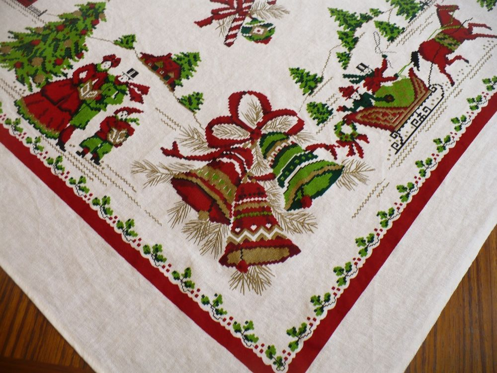 Vintage Christmas Tablecloth Horse Sleigh Bells Holly Trees Ornaments Candy Cane Ebay Table Cloth Tree