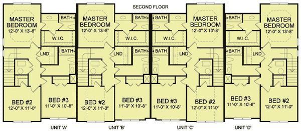 Plan 83125dc 4 Unit Townhouse