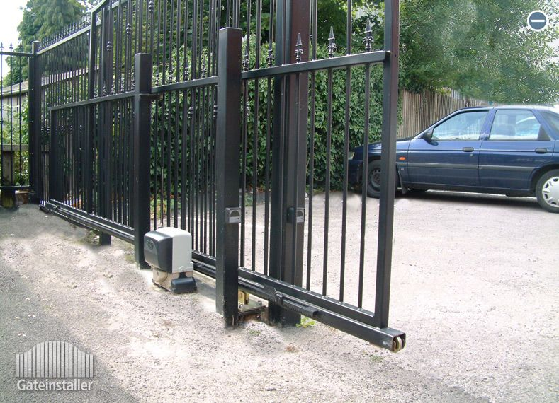 Click To Enlarge An Example Of A Metal Cantilever Electric Sliding Gate House Gate Design Wrought Iron Gates Main Gate Design