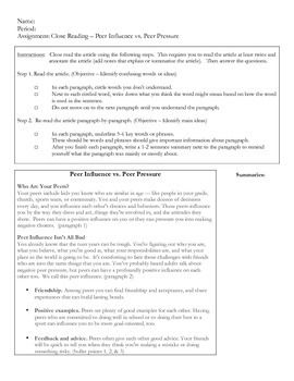 """Peer Pressure Close Reading Article and Questions aligned with the ELA Common Core Reading Informational Text Standards. Includes 2-page article (passage), instructions for annotating article, and questions aligned to the following ELA Common Core Standards:Reading Informational Text Standard 1Reading Informational Text Standard 4I use this article (and others) as a nonfictional supplement when teaching novels like, """"Wonder,"""" by R.J."""