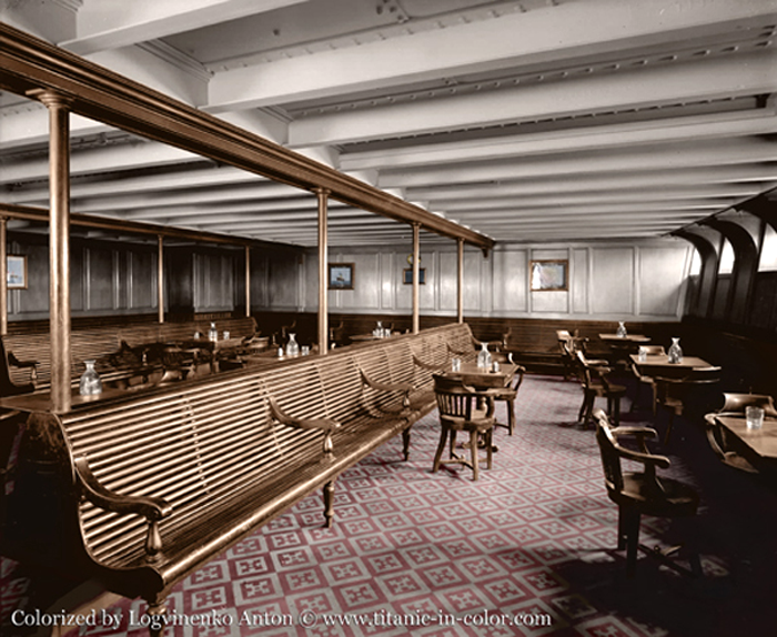 titanic - colorized photo of 3rd class smoking room   history i
