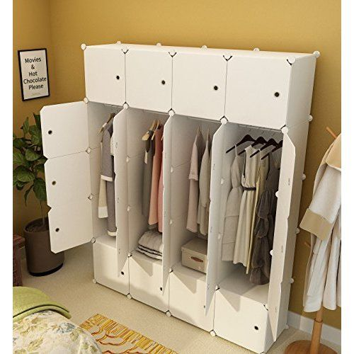 Amazon.com: Modern Clothing Wardrobe Closet Storage Organizer With 3 Doors  And 2 Drawers