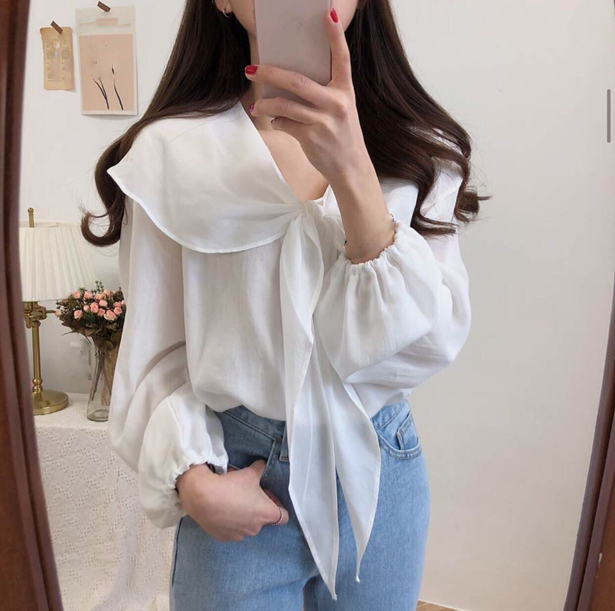 6 Korean Style Women Bow Tie Knot Tops Casual Cute Sweet Shirt