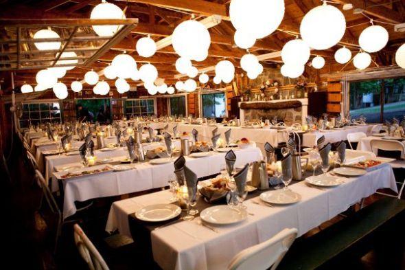Chandeliers AND paper lanterns wedding Camp Glenburn