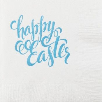 Printed & Ready to Ship 3-Ply Easter Napkins CALLIGRAPHY EASTER