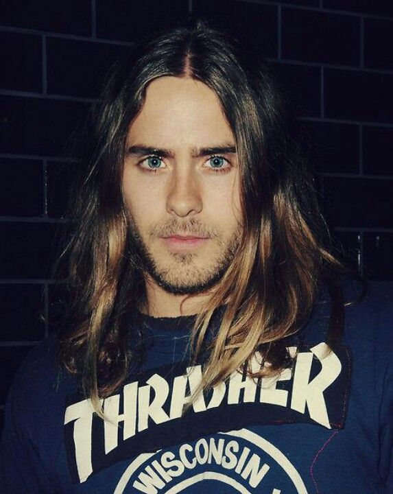 Jared Leto Yes He S Darling And All But I Pinned This Because I Love Seeing Young Men With Long Hair Rem Long Hair Styles Guys Eyebrows Long Hair Styles Men