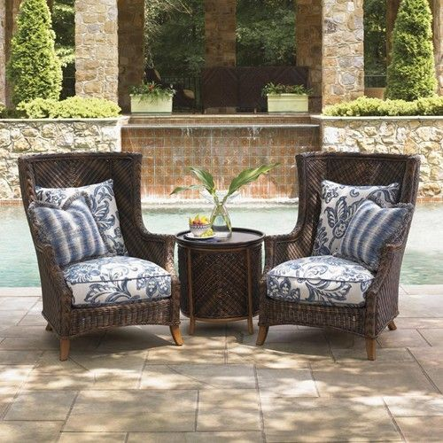 Island Estate Lanai Two Wing Back Chairs With Tray End Table By