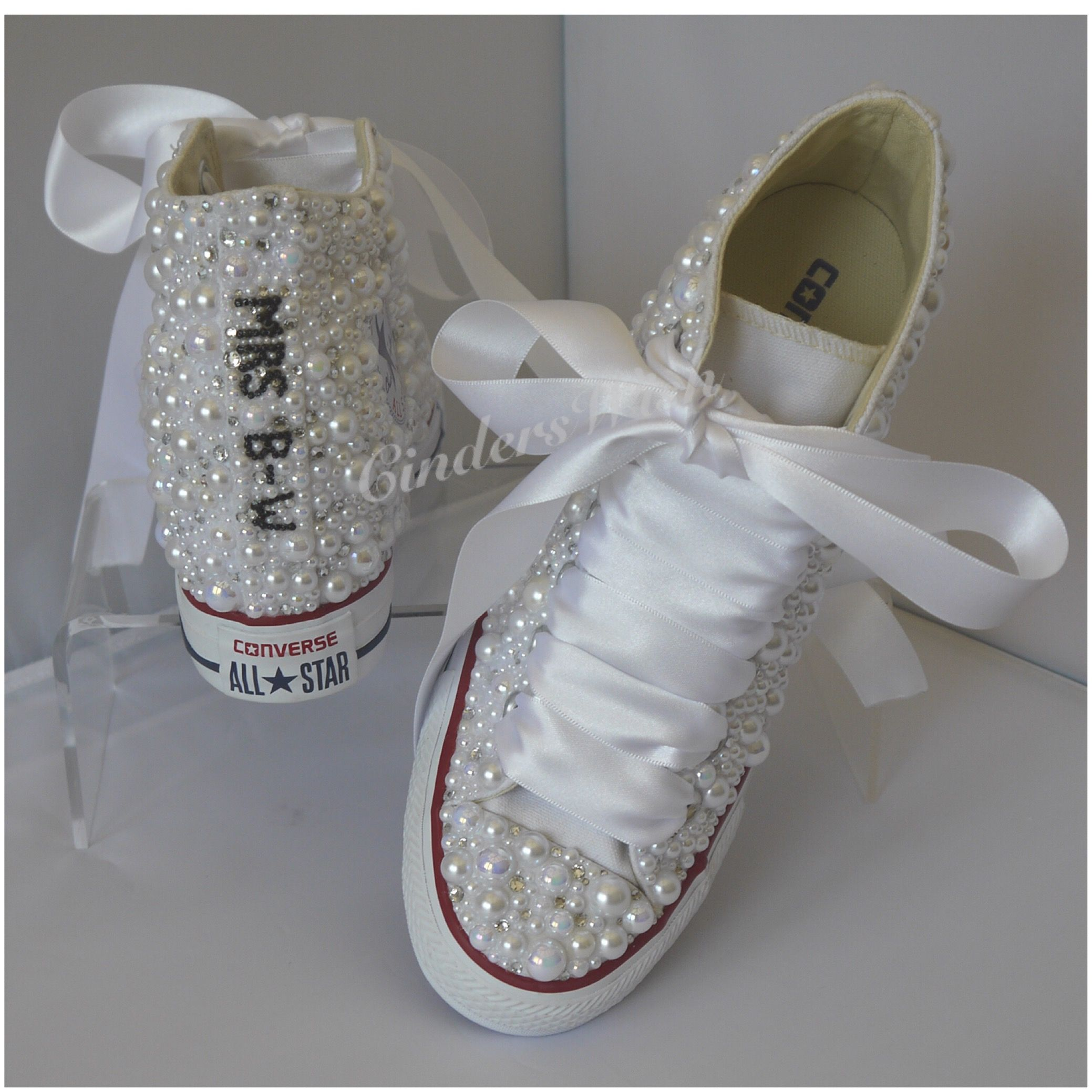 Details about Wedding Converse, PERSONALISED with Pearls and crystals, all sizes available