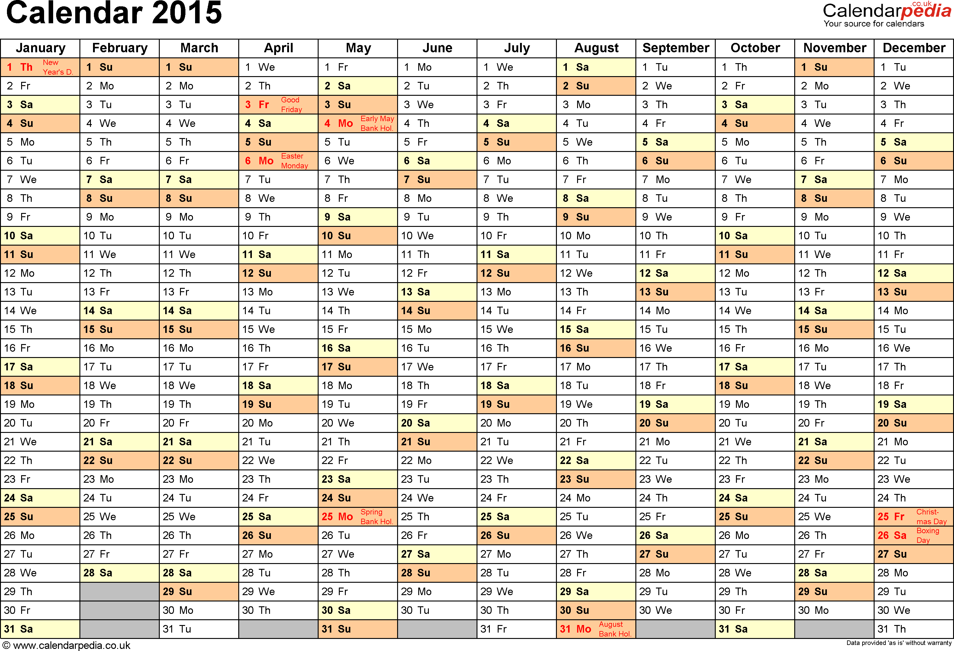 Template 2 yearly calendar 2015 as pdf template for Yearly vacation calendar template
