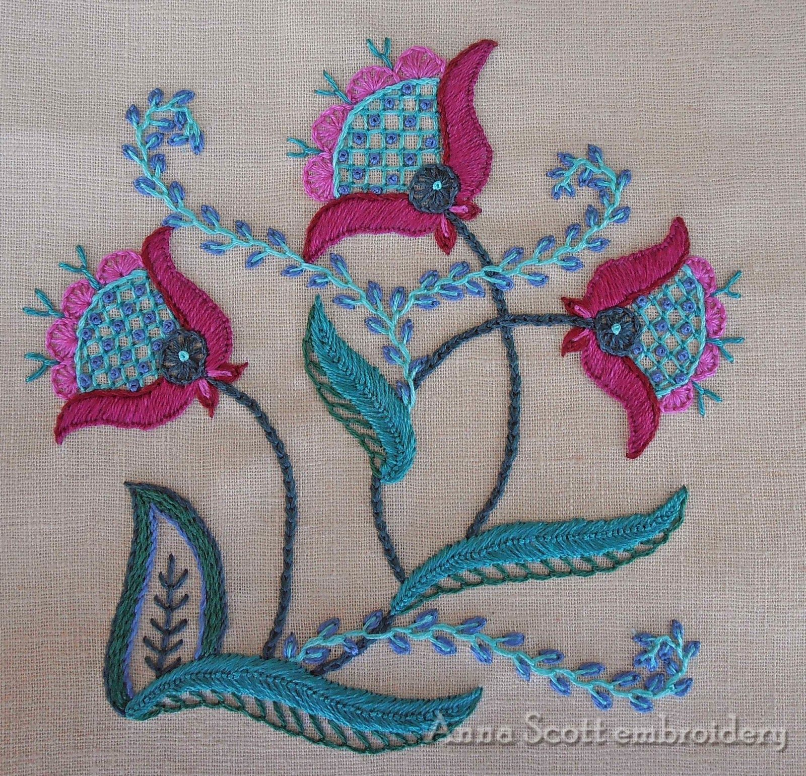 Anna scott finished flowers jacobean embroidery pinterest