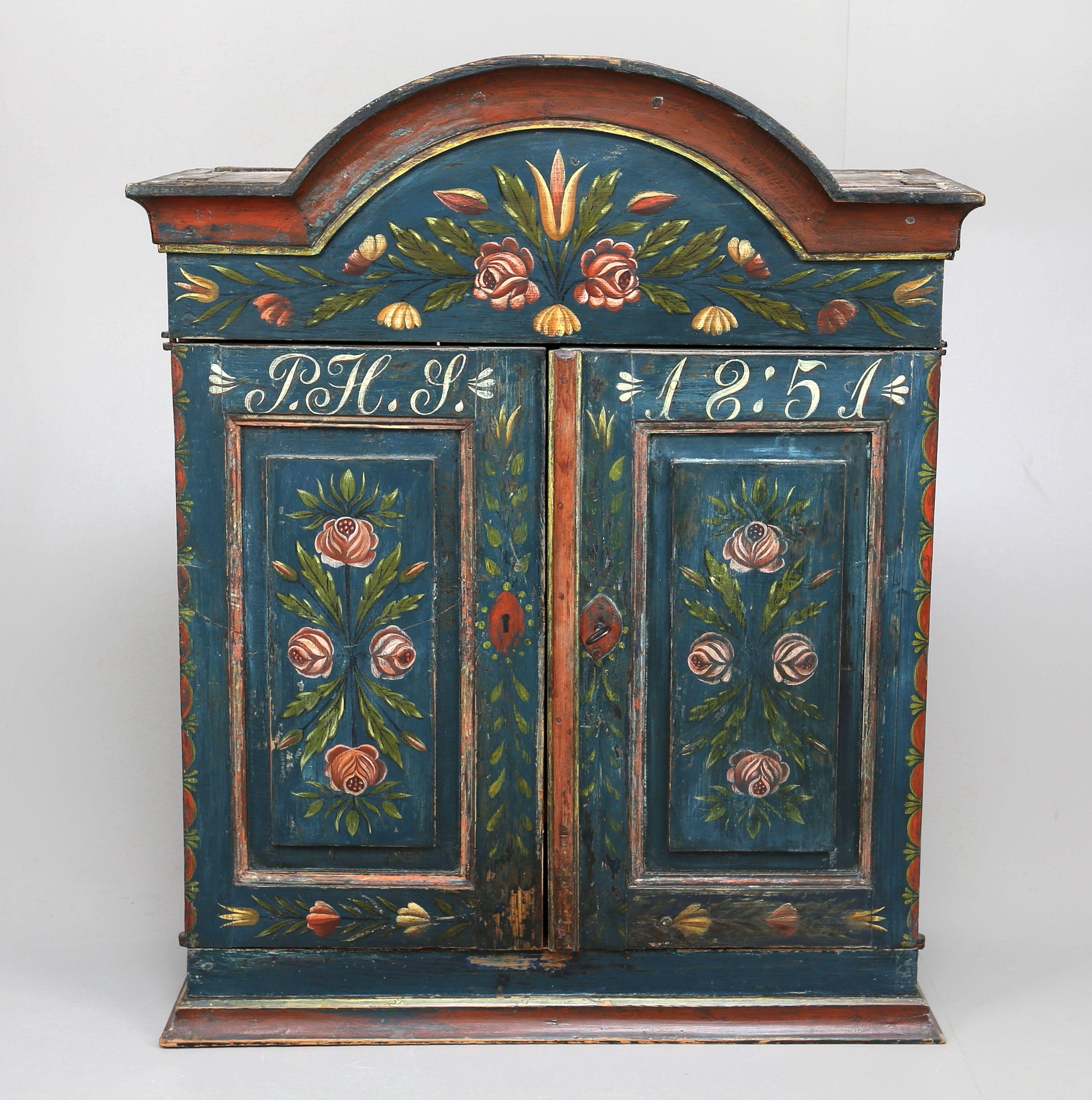 Vaggskap Allmoge Daterat 1851 Swedish Furniture Scandinavian Folk Art Art Furniture