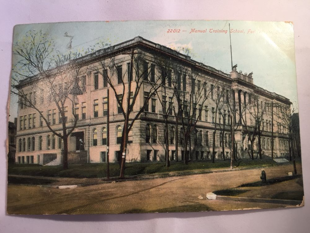 Vintage Manual Training School, Fort Wayne, IN postcard postmarked Jan 3 1908