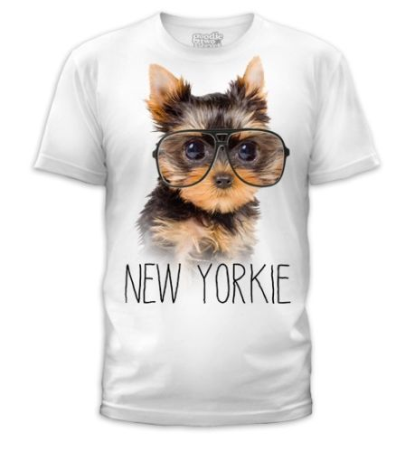Picture-Dog-Puppy-in-Big-Glasses-New-Yorkie-Nerdy-Geeky-Soft-Fitted-T-shirt-Top