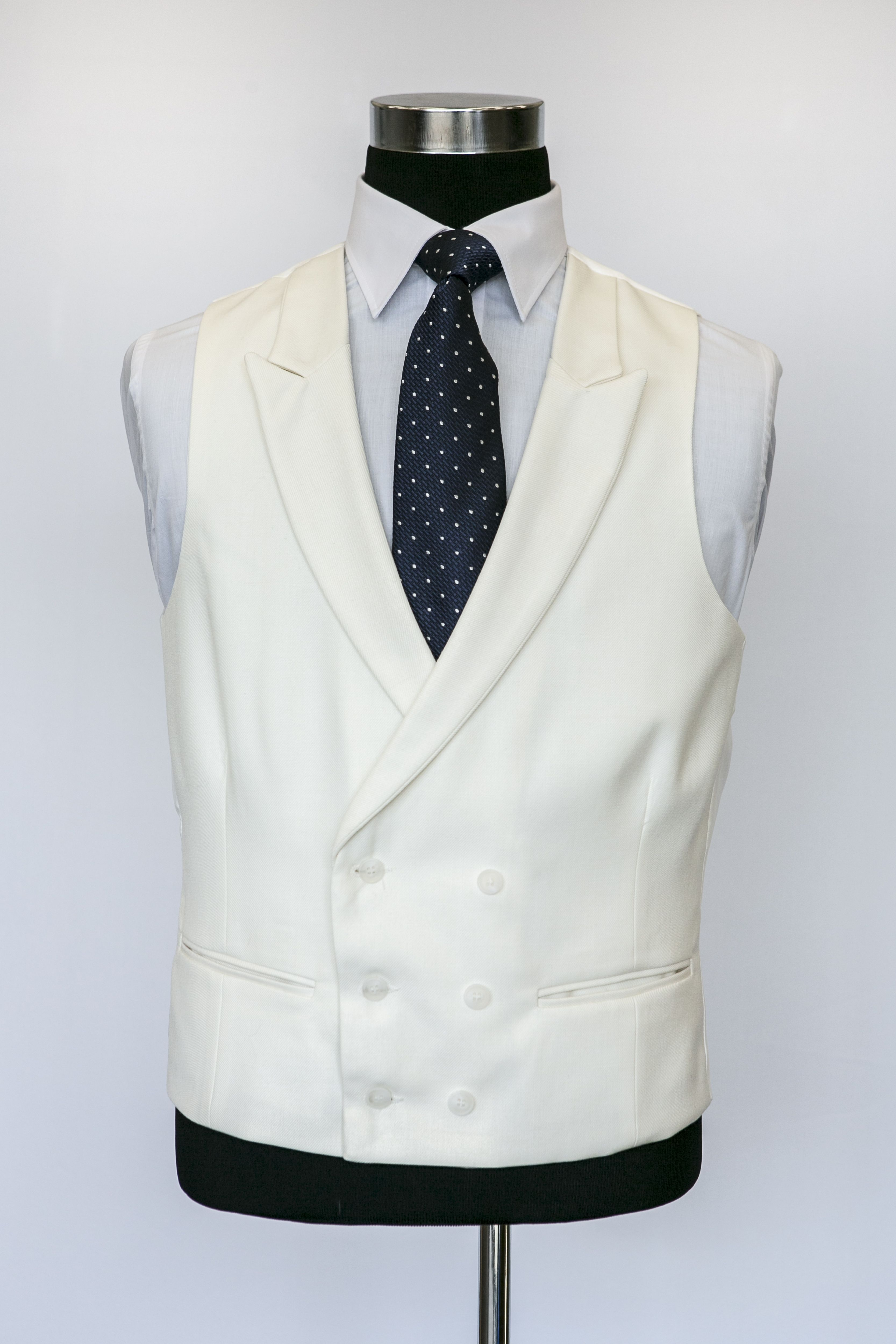 Ivory Double Breasted Wool Waistcoat with Navy Darcy Tie  e75180085