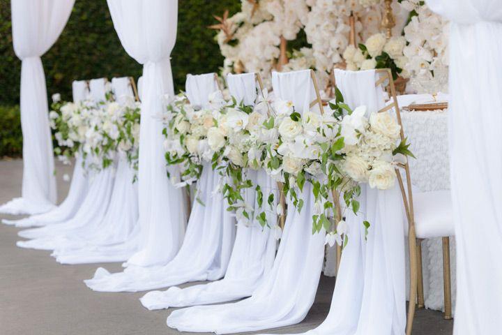 12 Beautifully Draped Fabric, Wedding Chair Ideas ~  we ❤ this! moncheribridals.com #weddingchairdecorations