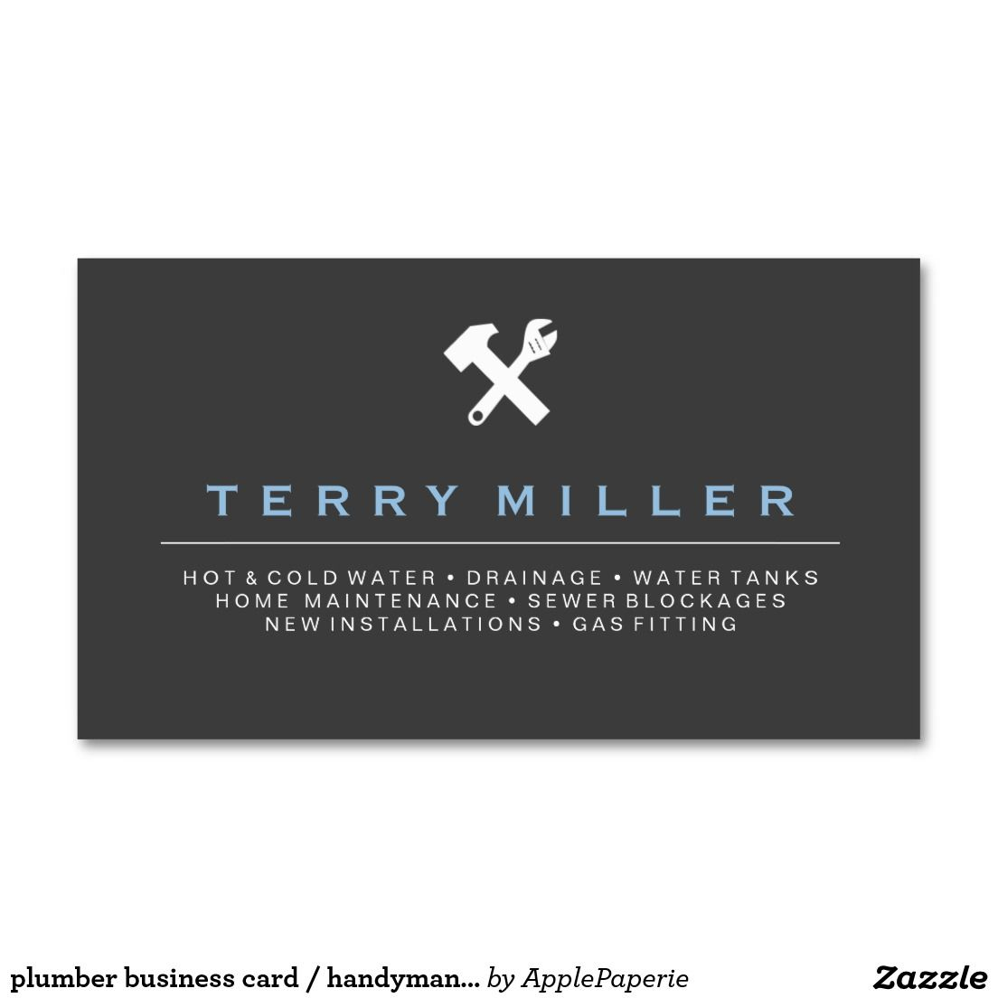 Plumber business card / handyman business cards | Pinterest ...