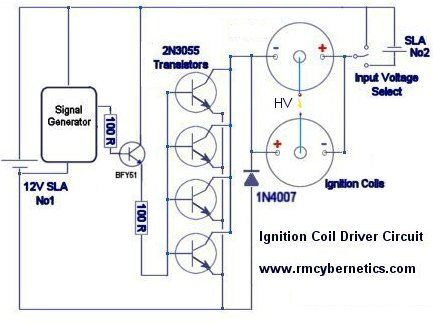 Ignition Coil Driver By Rmcybernetics Homemade Ignition Coil Driver Intended For A High Voltage Power Supply Ignition Coil Tesla Coil Electronic Schematics
