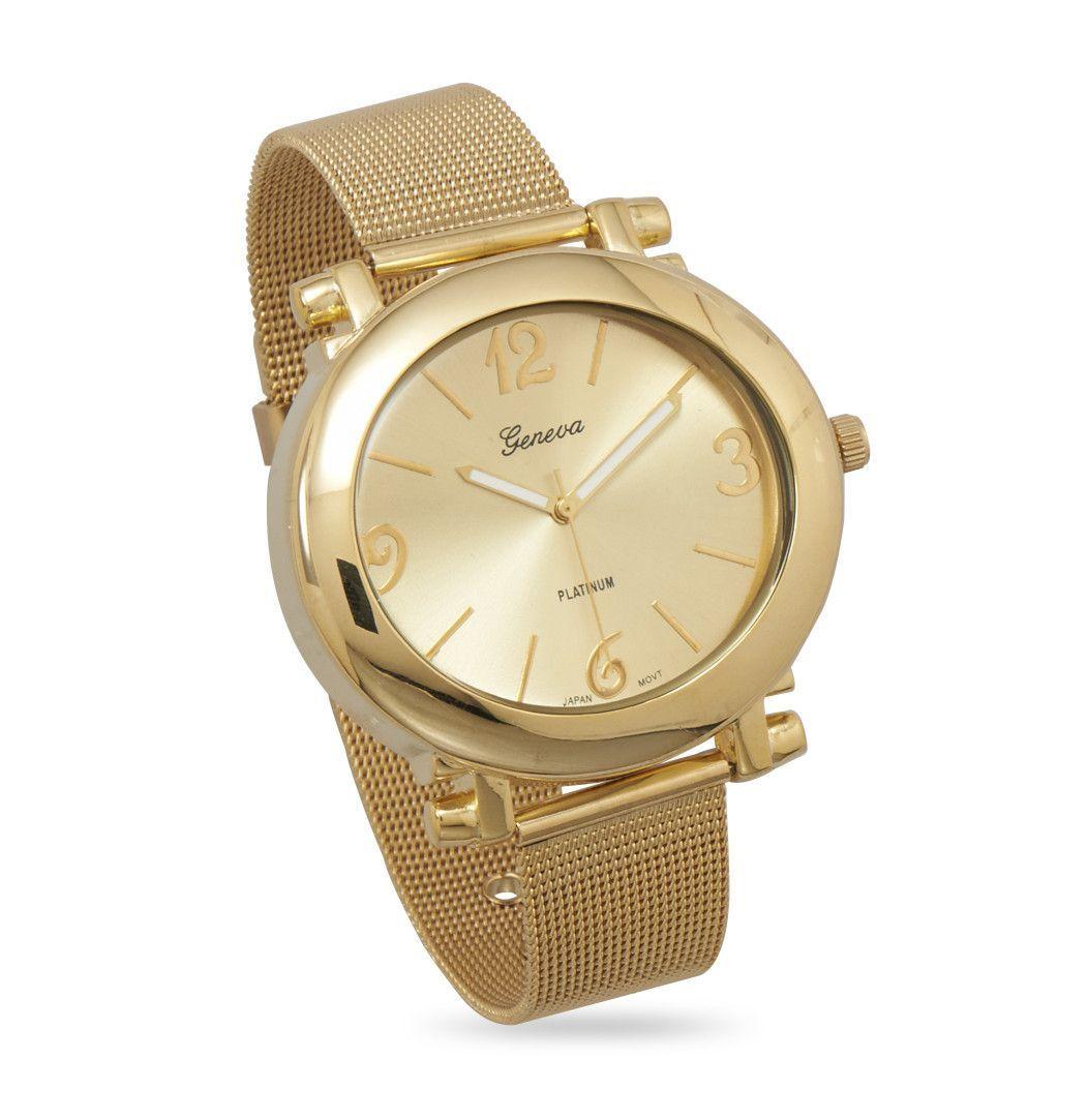 Gold Tone Mesh Fashion Watch