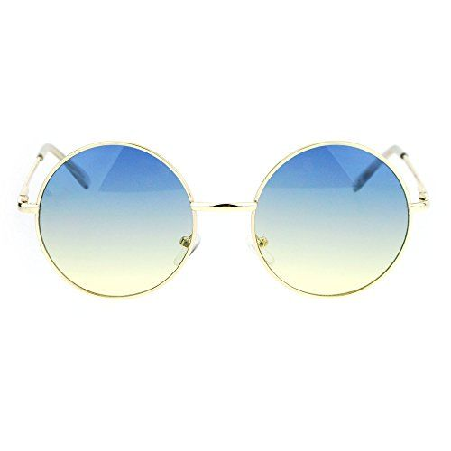 e032a50fe2 Introducing 2 Tone Color Lens Retro Vintage Style Round Circle Hippie  Groovy Sunglasses Blue Yellow. Great Product and follow us to get more  updates!