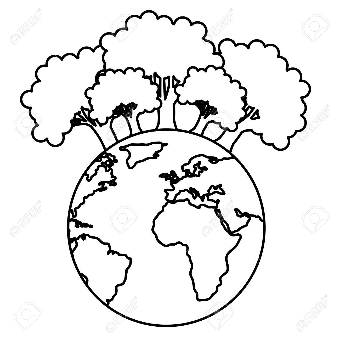 Save The Planet Earth With Forest Trees Ecology Vector Illustration Design Stock Vector 10 Vector Illustration Illustration Design Vector Illustration Design