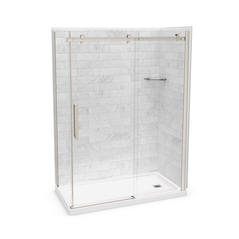 Utile 60 Inch X 32 Inch X 84 Inch Marble Carrara Corner Shower Kit