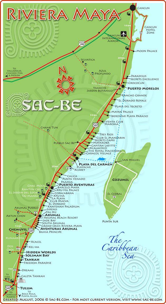 Map Of Riviera Maya Beaches Google Search Mexico Pinterest - Cancun hotel zone map