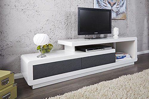 Meuble Tv Meuble De Salon Marvin Blanc Gris Laque Meuble Design