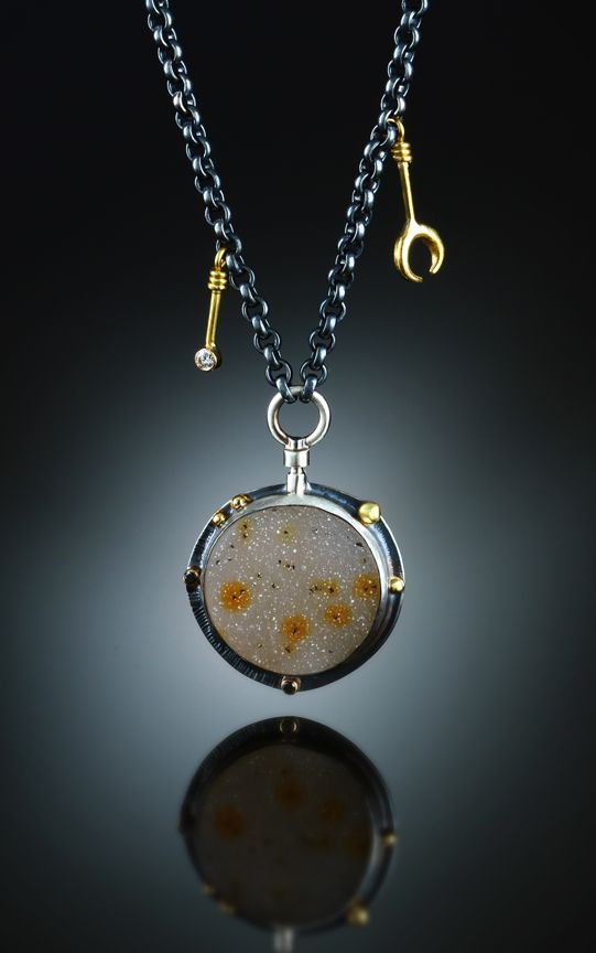 Druzy Quart & Diamond Necklace. Fabricated Sterling Silver & 18k. www.amybuettner.com