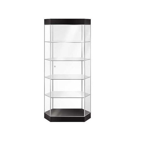 Black Stretch Hexagonal Tower Display Case With Light ($575) ❤ liked on Polyvore featuring window display