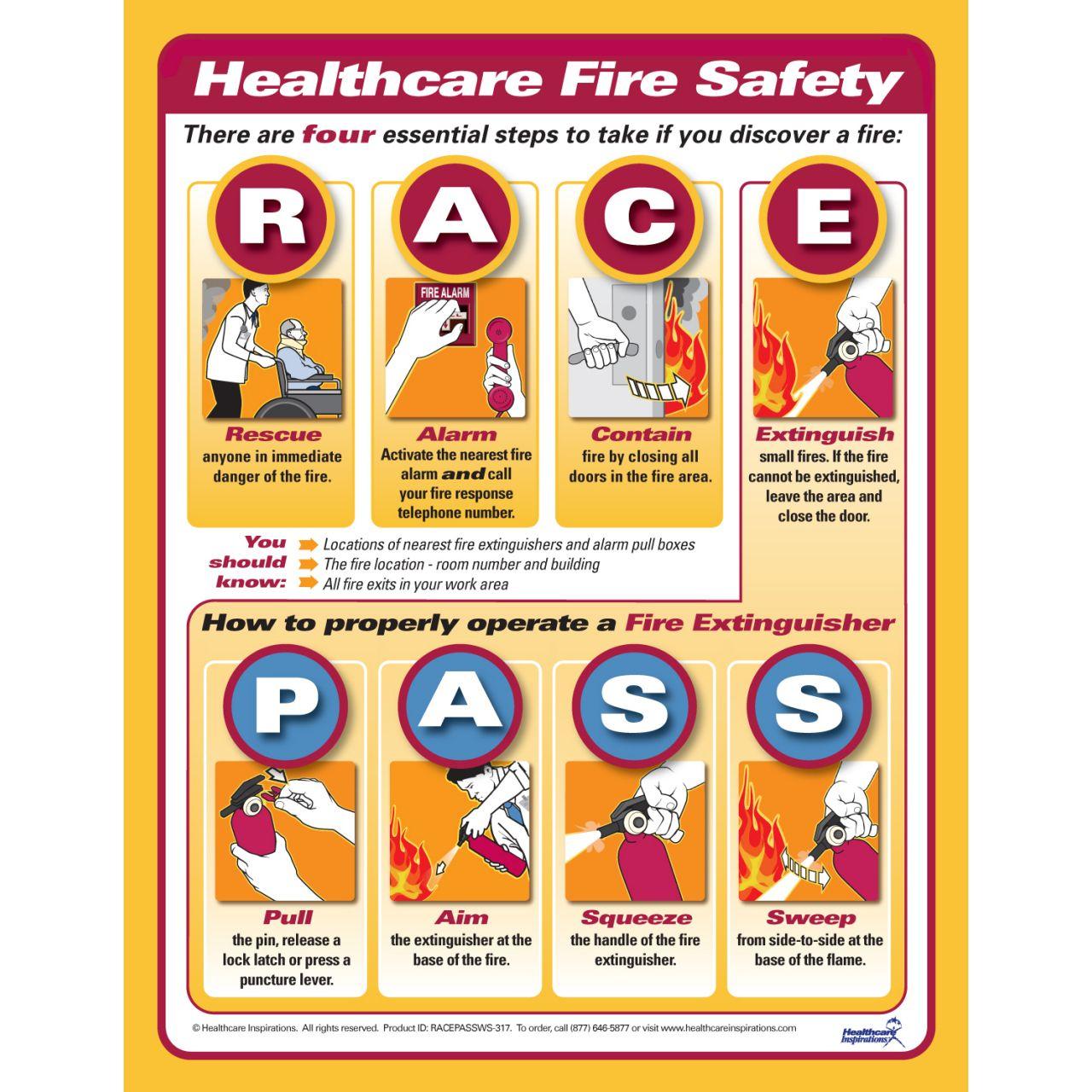 RACE, PASS Fire safety Nursing mnemonics Pinterest