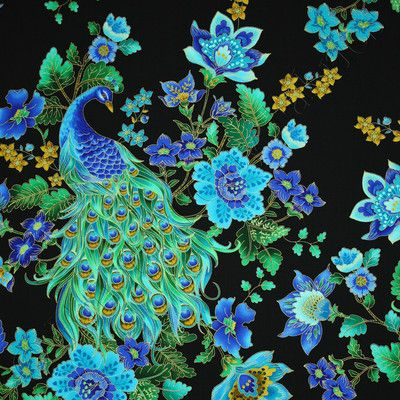 Stunning peacock colors against black. Vivid, dramatic.