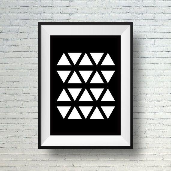 Digital download black and white wall art modern geometric print black and white home