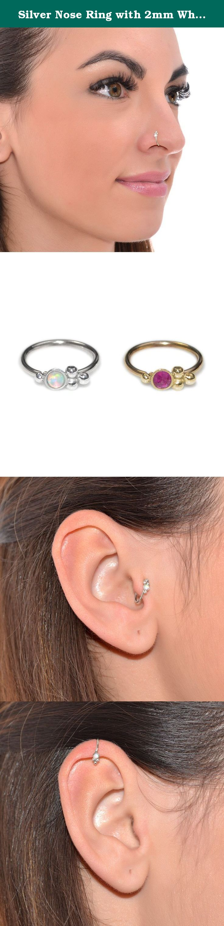 Nose piercing over 40  Silver Nose Ring with mm White Opal g  Daith Earring Rook
