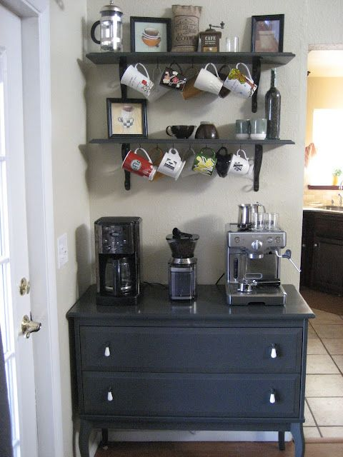 coffee bar. soon I'll need this if I keep collecting different coffee making contraptions!
