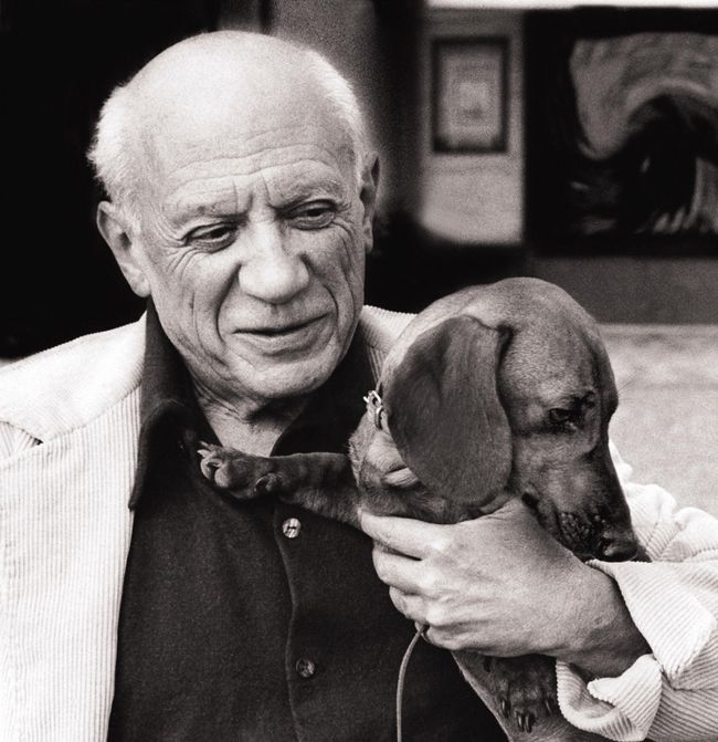 Picasso and his dachshund, Lump!