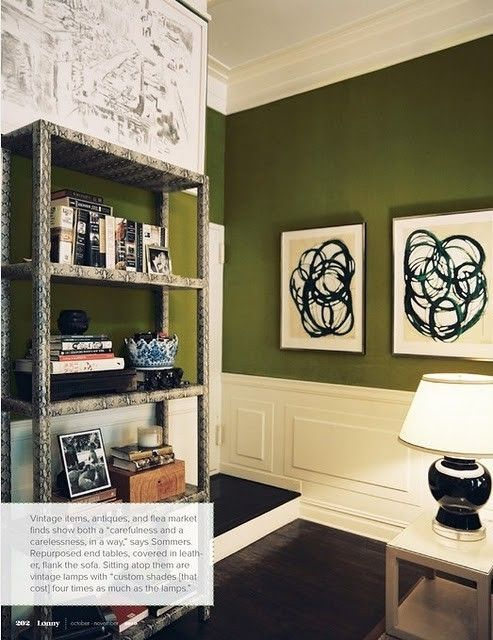the end tables are coveredbin leather.  don't know what the bookcase is made of, but it makes me think about covering a simple shelf in wall paper or fabric