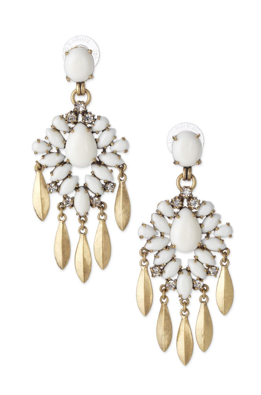Spring 2014 collection white crystal stone chandelier earrings spring 2014 collection white crystal stone chandelier earrings mallorca chandeliers arubaitofo Image collections