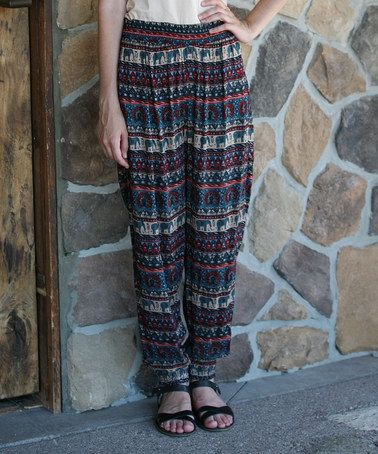 Another great find on #zulily! Teal & Burgundy Elephant Joggers #zulilyfinds