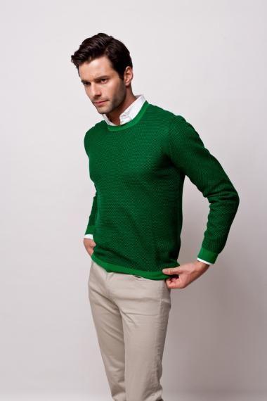 Dark green and black crew neck sweater men