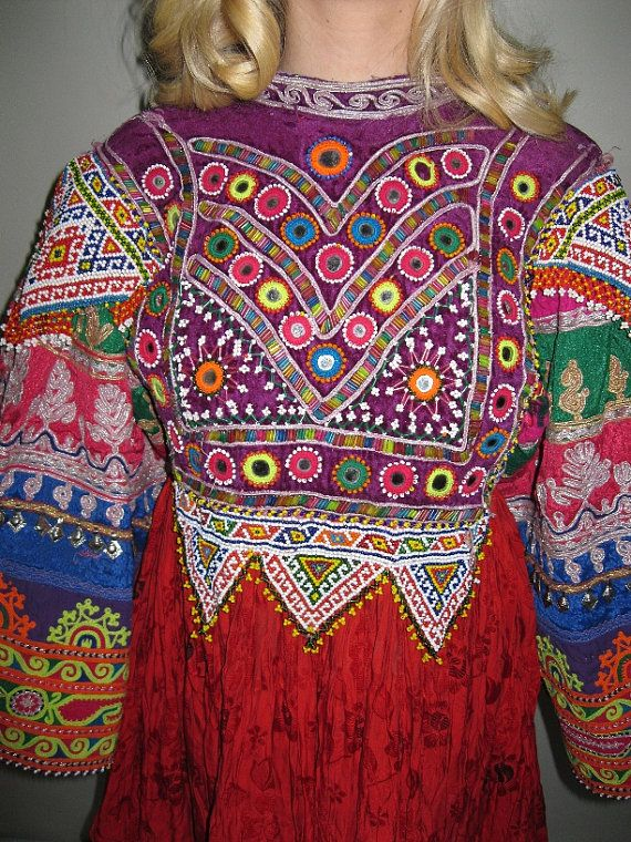 AUTHENTIC Tribal Hand EMBROIDRED saturated by EclecticCollage, $185.00