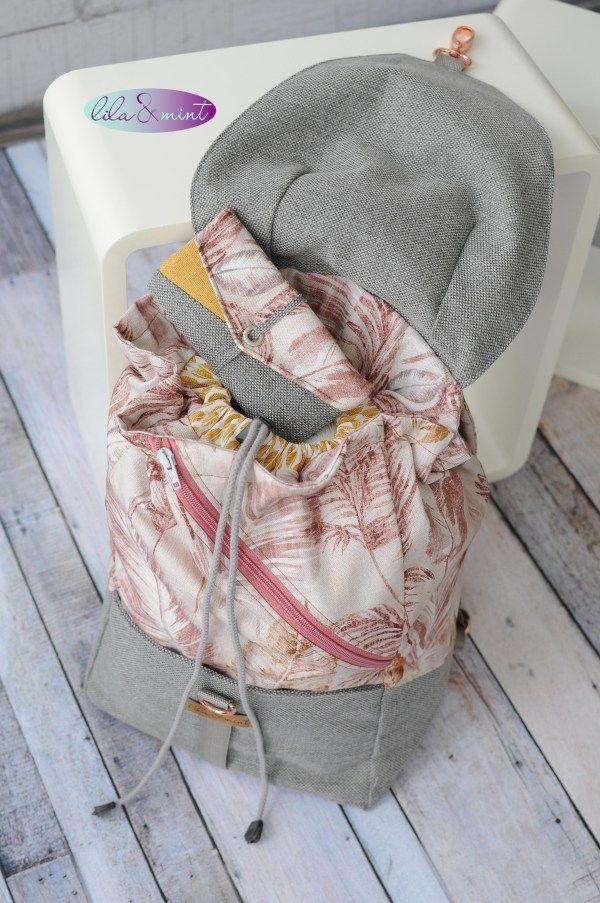 Mi primera mochila auto cosida – morado y menta – coser y blog  – Bolsa