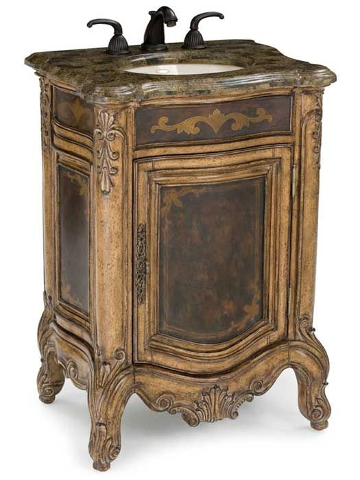 The 25″ Winslow Petite Antique Single Vanity has an outstanding antique  style has enough personality to complete any small bathroom or powder room. - French Provincial Bathroom Vanities Been Looking For French