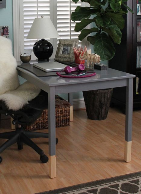 Ingo Dining Table Painted Victorian Pewter By Olympic And Used As A Desk