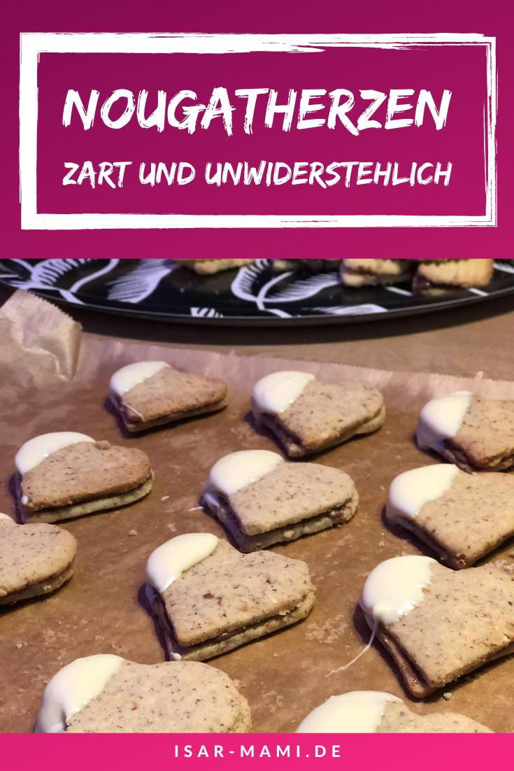 Rezept Nougatherzen - Zarte Nougat Plätzchen mit weißer Schokolade