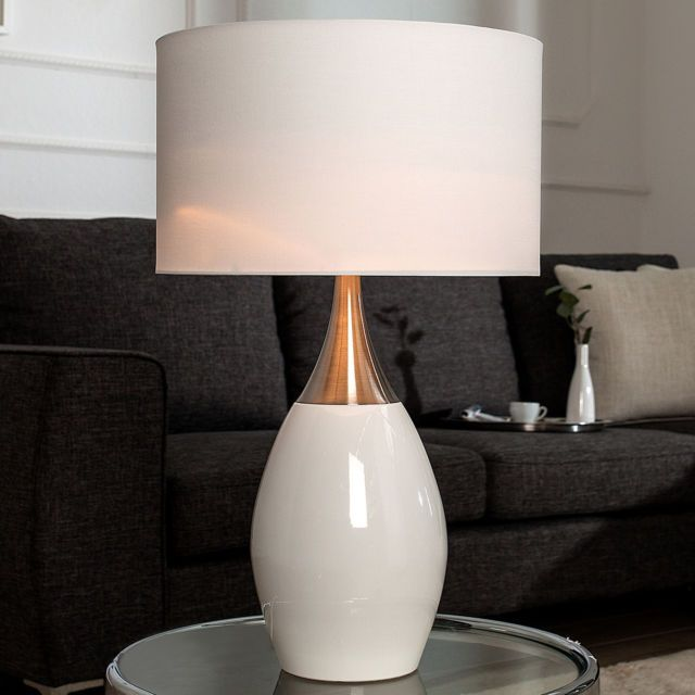 Elegante Tischlampe CARLA weiß 60 cm Tischleuchte Lampe ...