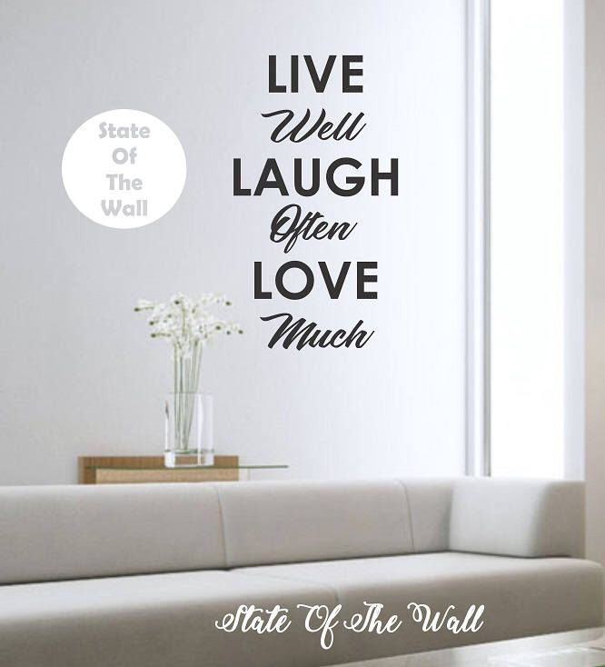Live well laugh often love much quote vinyl wall decal sticker art decor bedroom design mural
